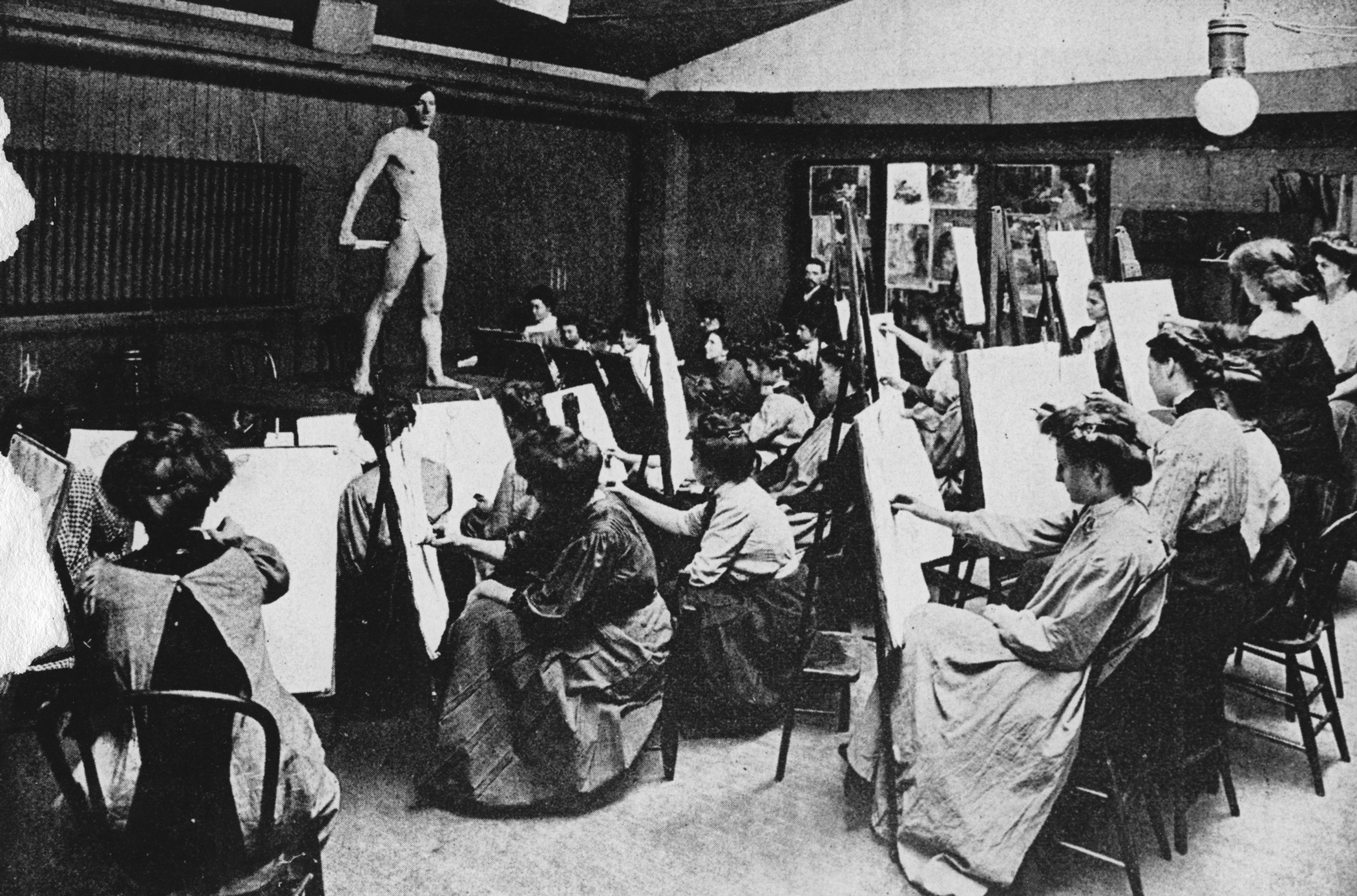 Nude-Life-class-for-women,-1893